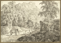 The Dungaye Pass on the road between Kannachatti and Dungaye (Bihar); an elephant in the foreground. 18 February 1823